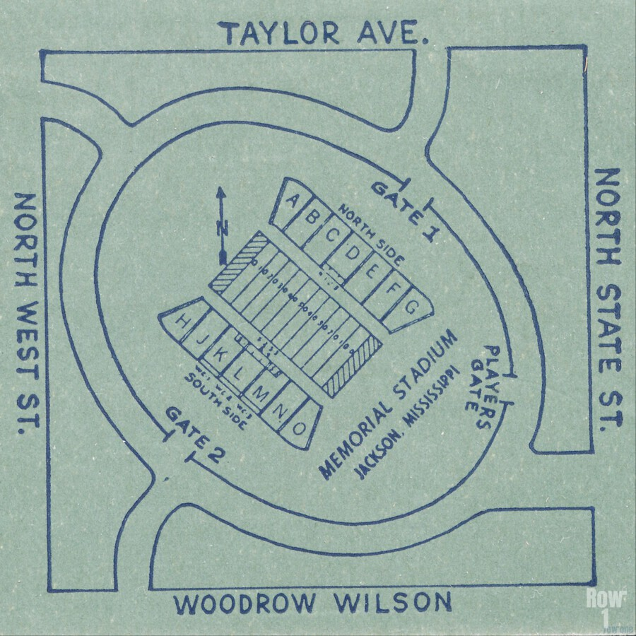 1956 Memorial Stadium Map Jackson MS  Print