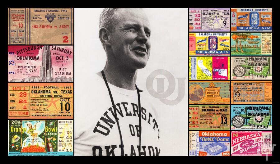 Oklahoma Football Bud Wilkinson Ticket Collage  Print