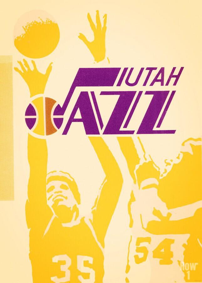 1980 Utah Jazz Retro Basketball Art  Print