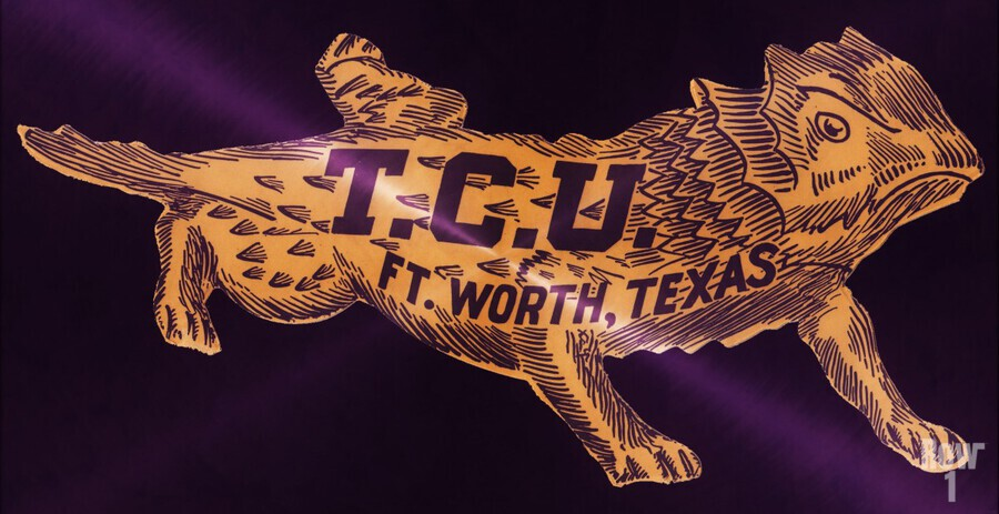 vintage college mascot art tcu horned frogs ft worth texas  Print