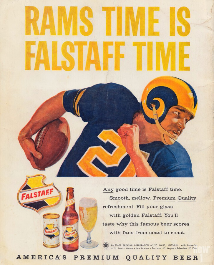 vintage falstaff beer ad la rams poster retro ads reproduction art  Print