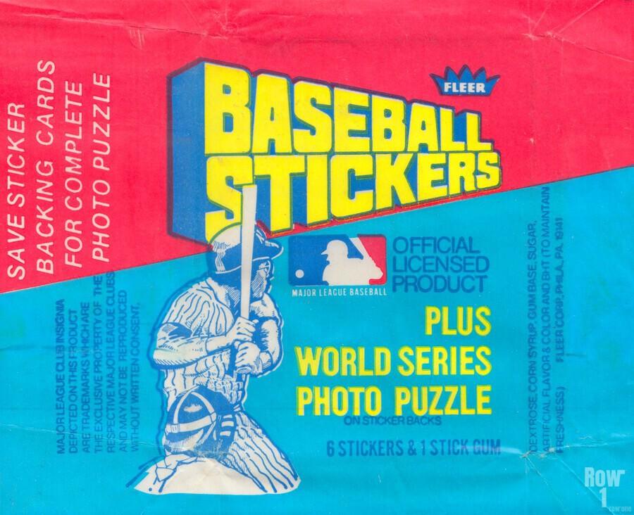 vintage fleer mlb baseball sticker package art design reproduction art  Print