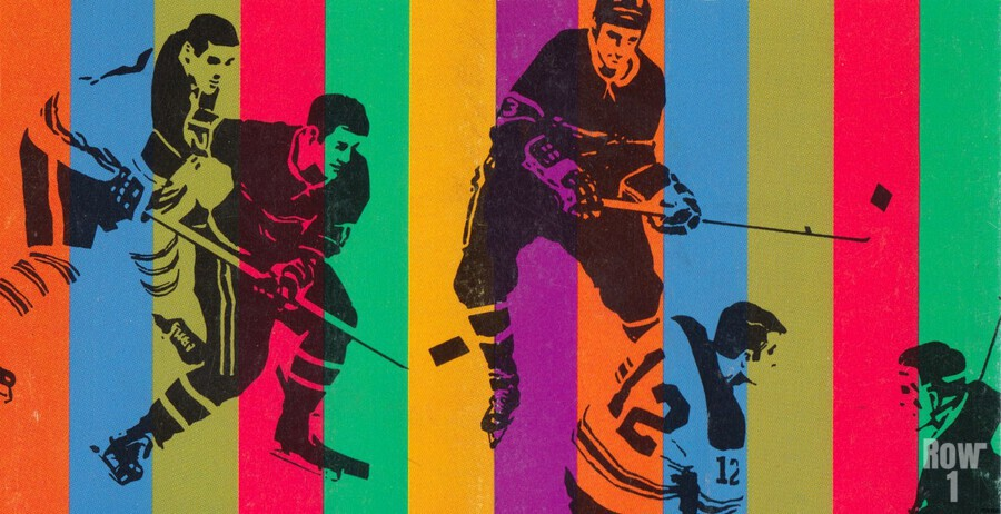 vintage hockey art colorful sports art poster  Print