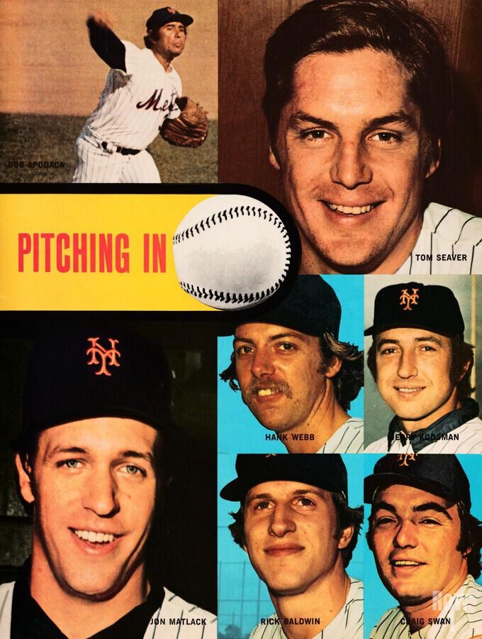 vintage mets poster tom seaver pitcher  Print