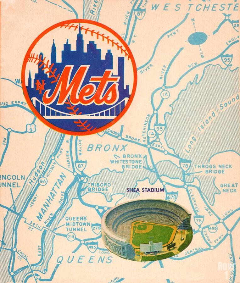 vintage mets shea stadium map poster metal man cave sign  Print
