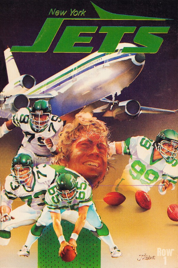 vintage new york jets poster art artist george zebot row one brand sports posters  Print