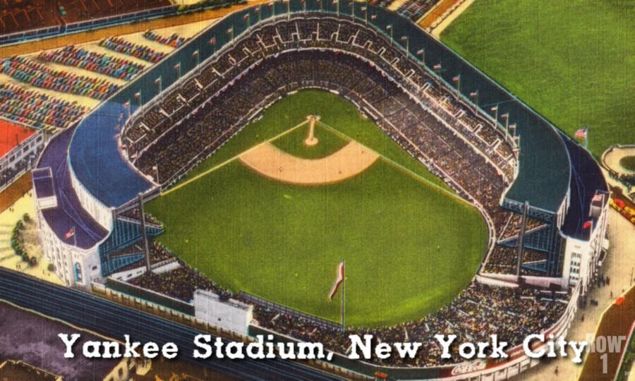 Vintage Yankee Stadium Postcard Art  Print