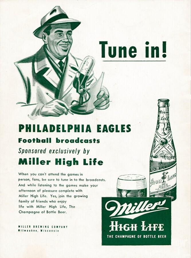 vintage philadelphia eagles miller high life ad poster  Print