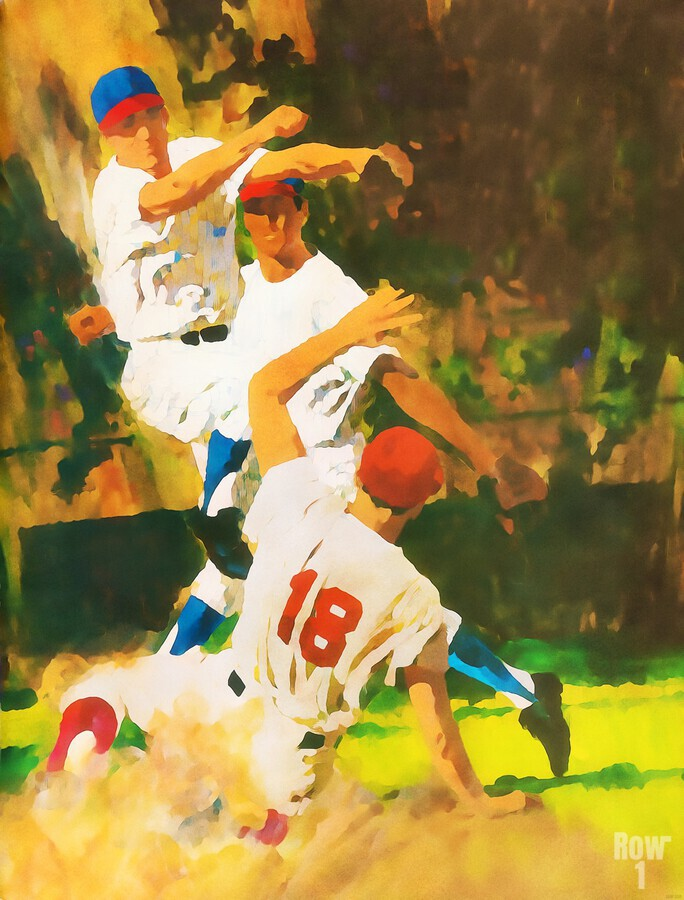 vintage watercolor style baseball art poster print sports artwork row one collection  Print