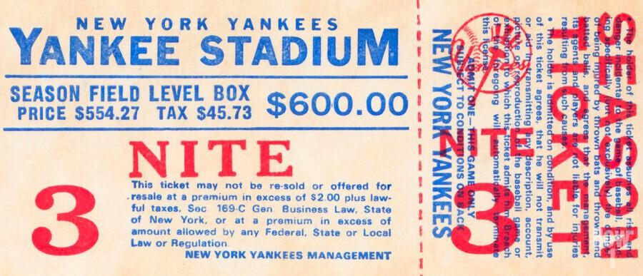 vintage yankees ticket stub metal sign  Print