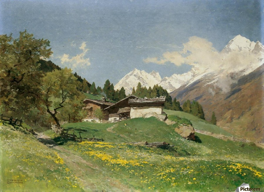 Rural house at the base of Alps  Print