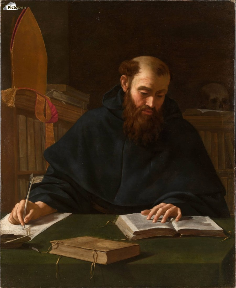 Saint Augustine in his study  Print