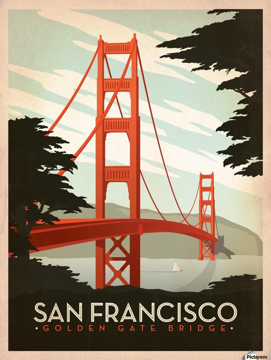 San francisco golden gate bridge vintage poster canvas