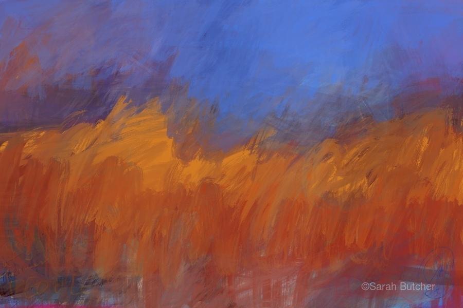Orange and Blue Landscape  Print