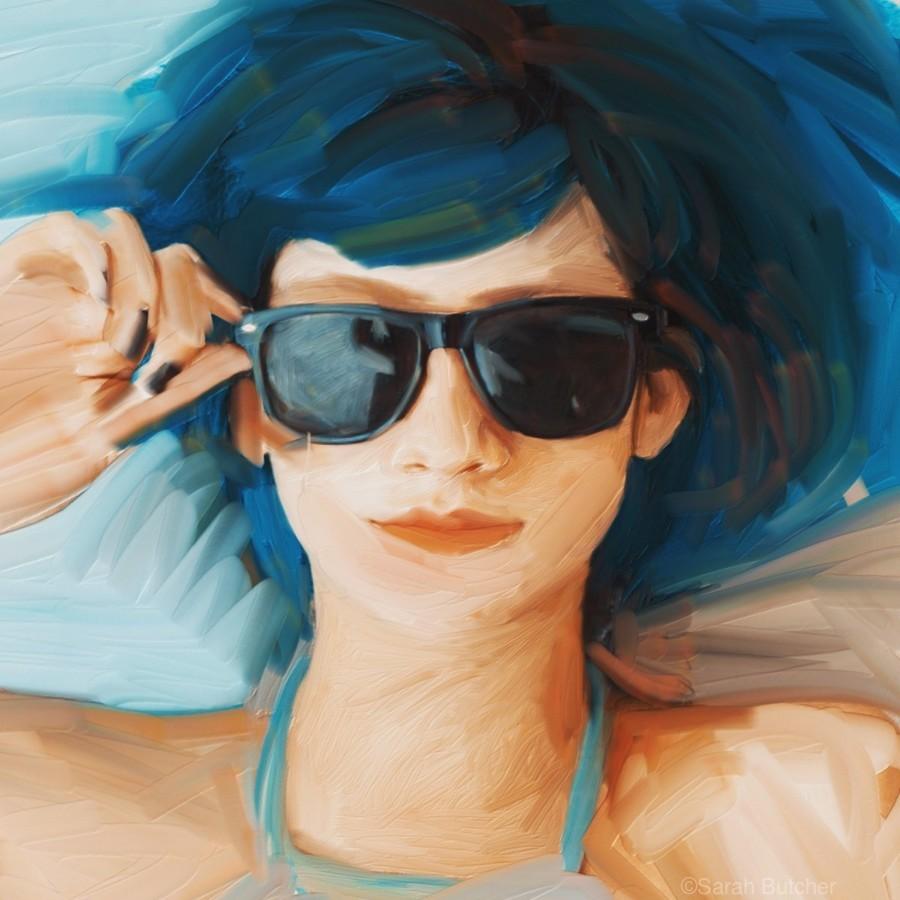 Blue Hair  Print