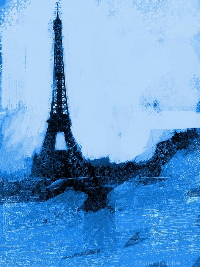 Paris Icon in Cyan  Print