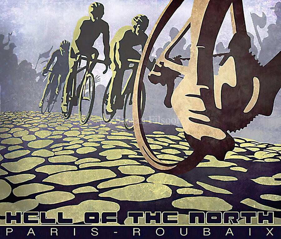 Paris Roubaix retro cycling poster  Print