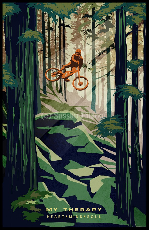 My Therapy retro Mountain biking art   Print