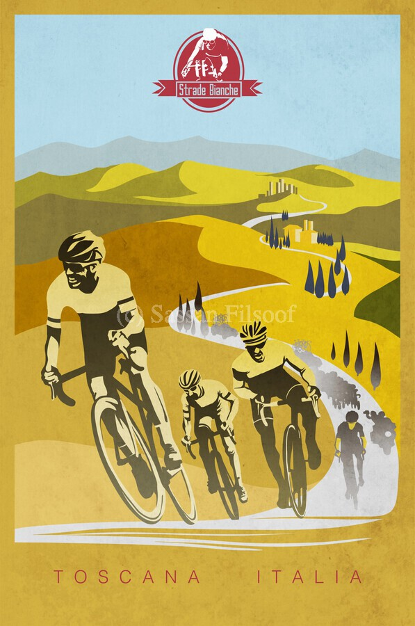 retro Strade Bianche cycling poster  Print