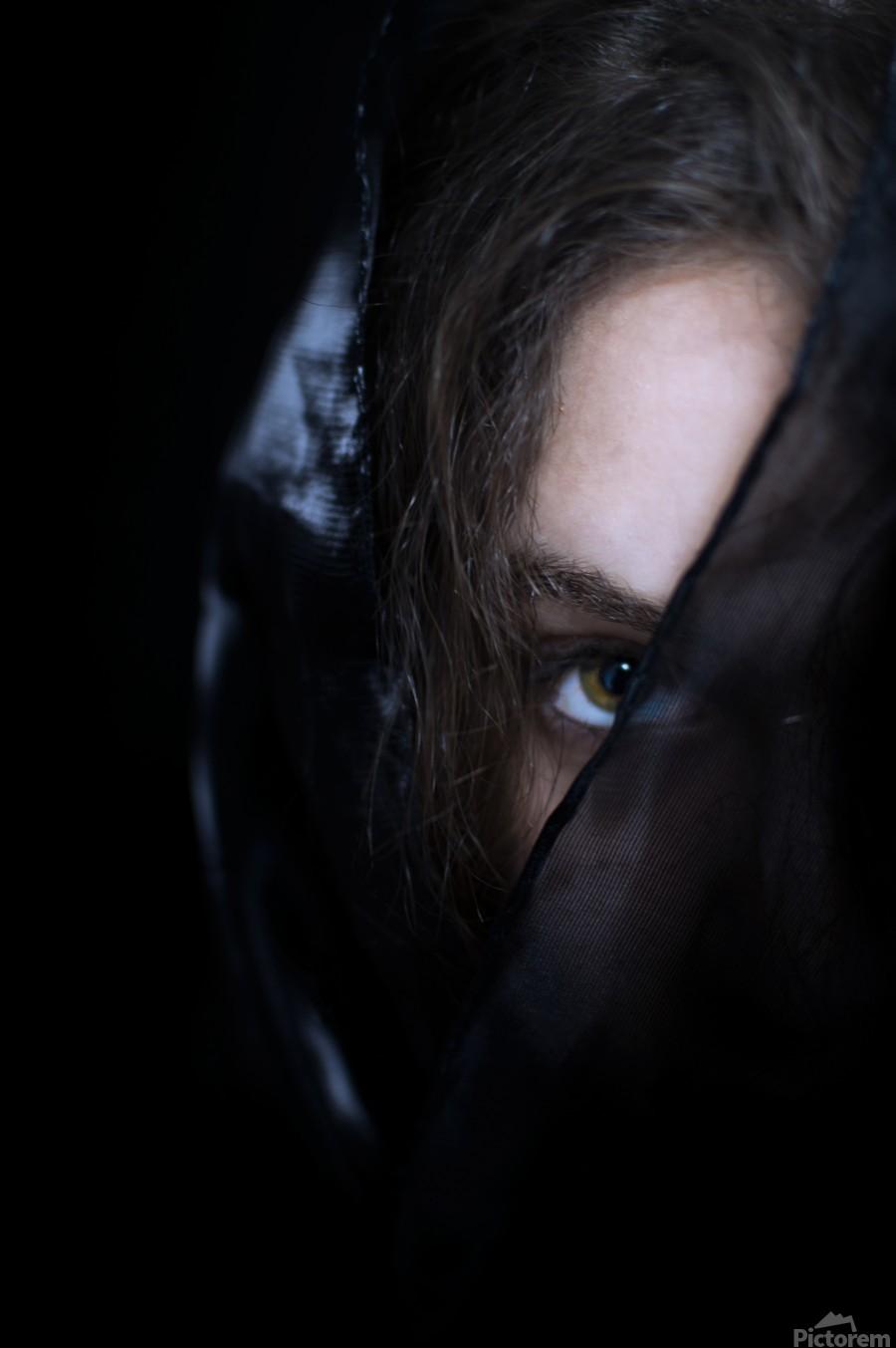 low key dark girl portrait  Print