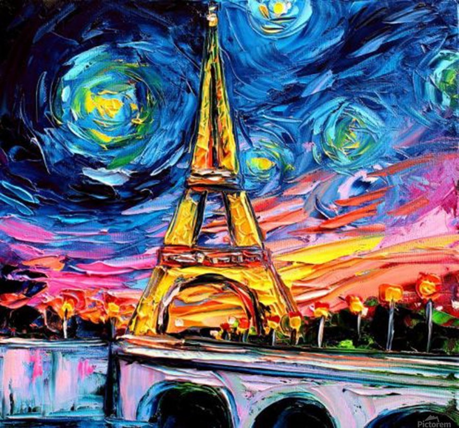 Eiffel Tower Starry Night print van Gogh  Print