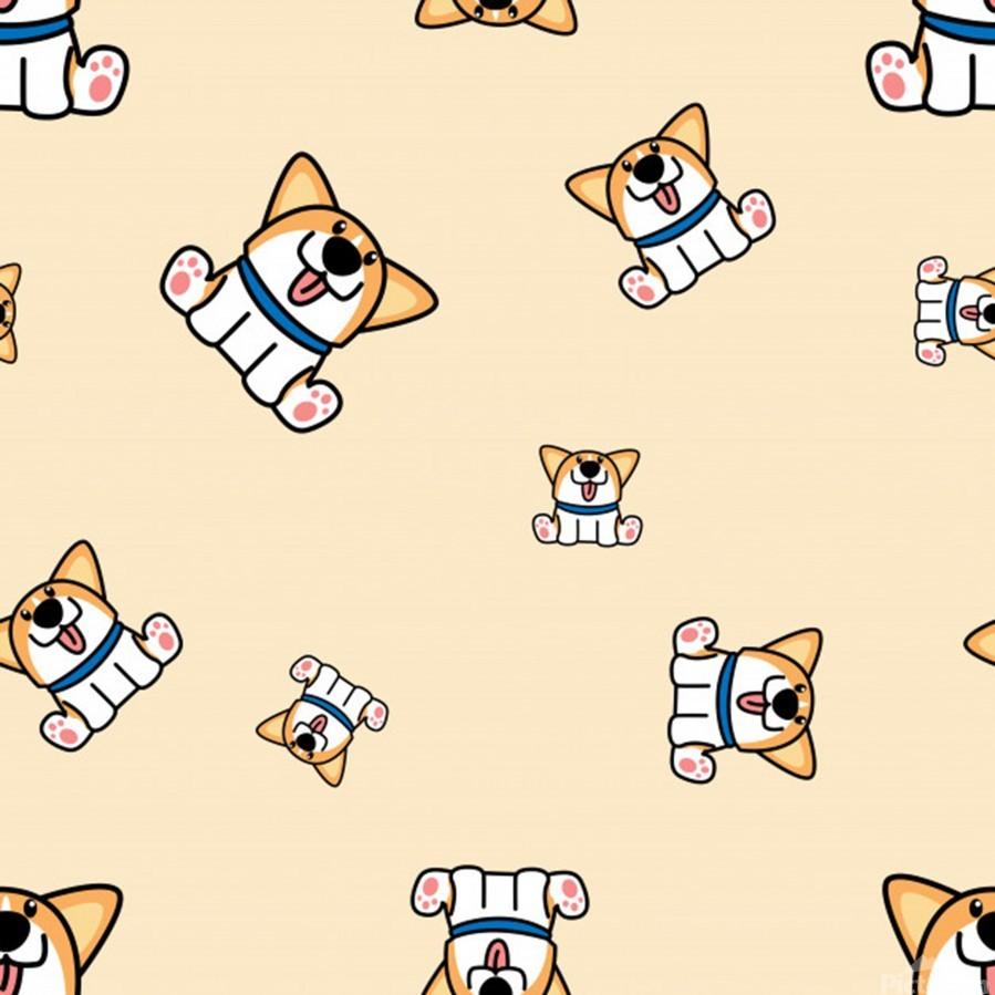 cute welsh corgi puppy sitting seamless pattern  Print