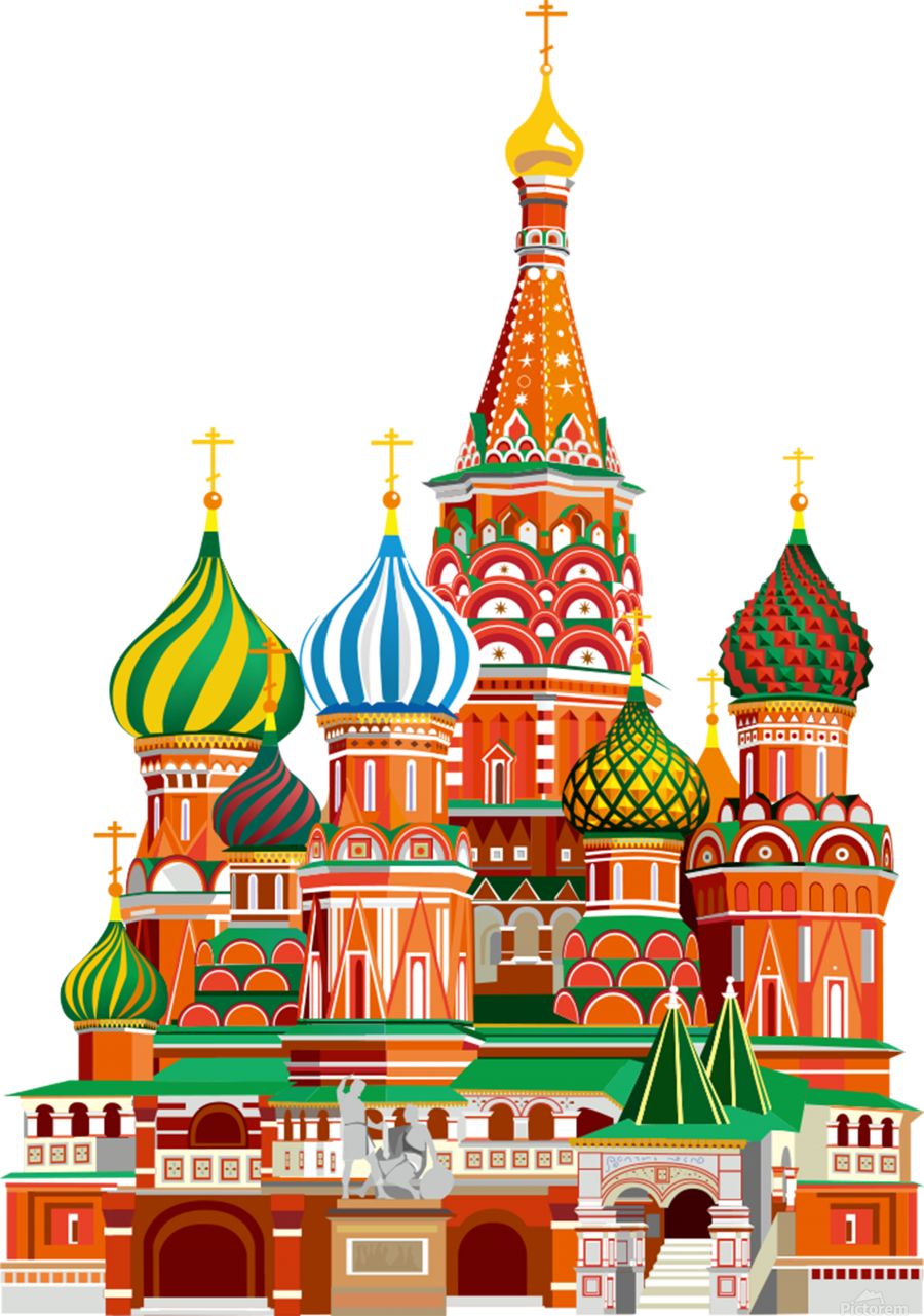 moscow kremlin saint basils cathedral red square l vector illustration moscow building  Print