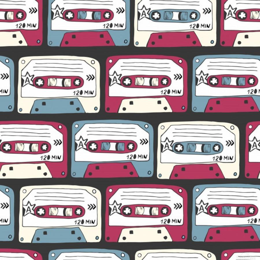 music symbols rock music seamless pattern  Print