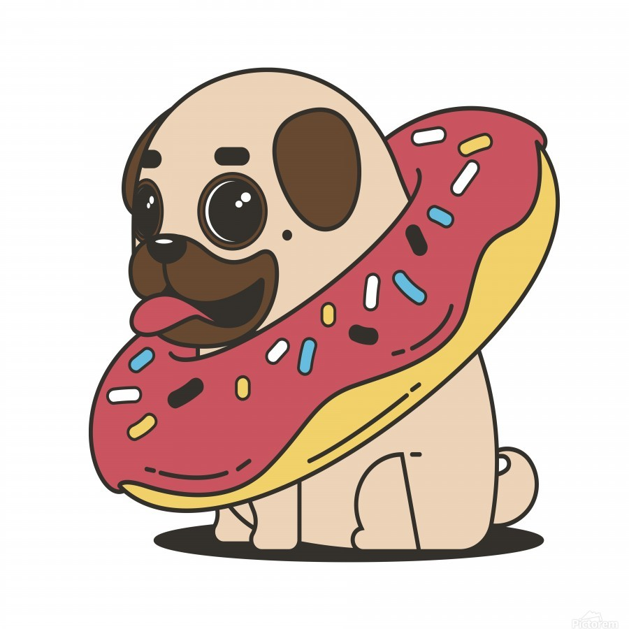 pug donut sweets tasty bun  Print