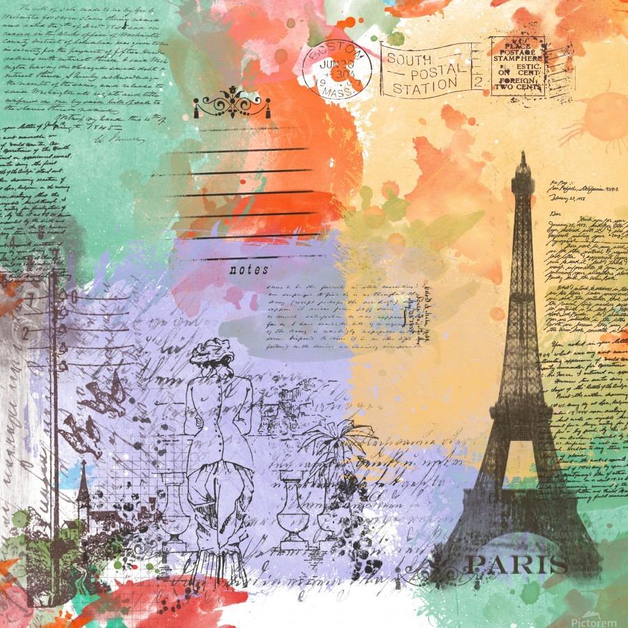 Scrapbook paris vintage france  Print