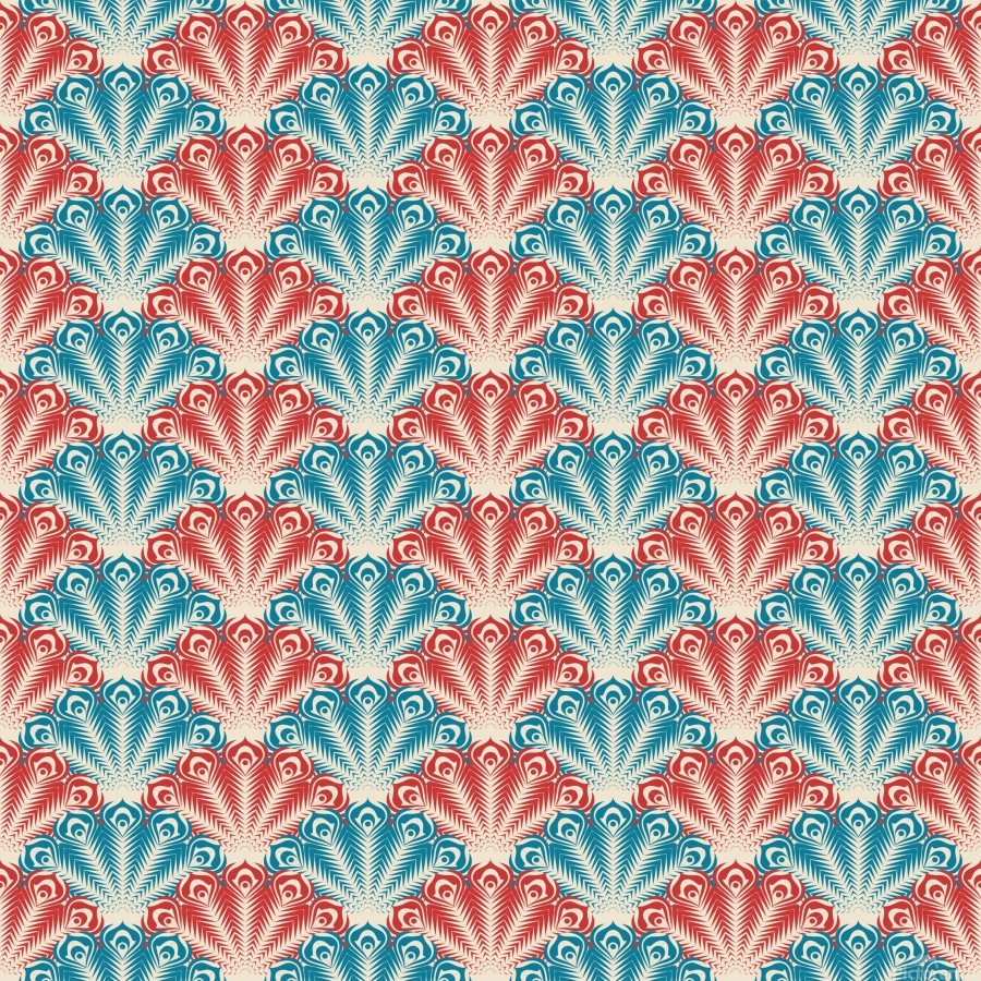 seamless patter peacock feathers  Print