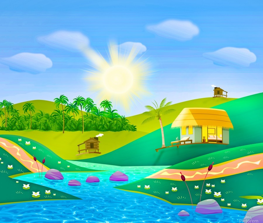 tropical resort huts lake river  Print