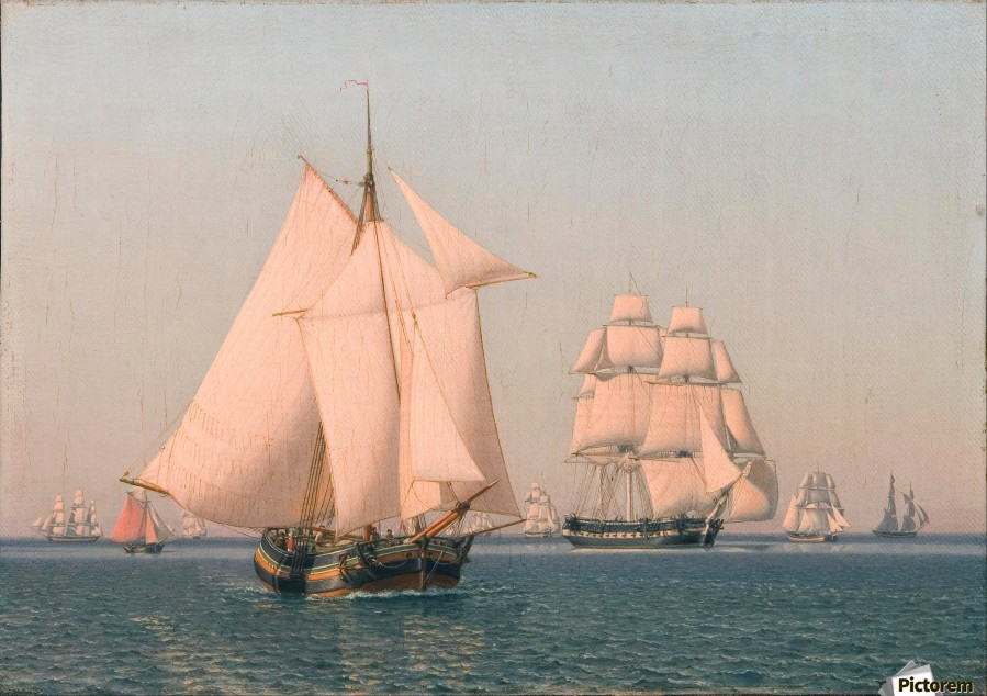 Ships under sail in mild breeze on clear summer afternoon  Print