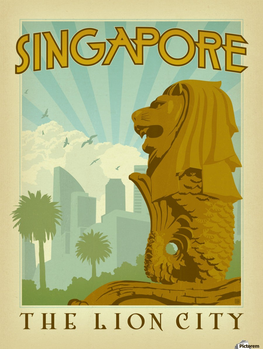 Singapore The Lion City Poster - VINTAGE POSTER Canvas