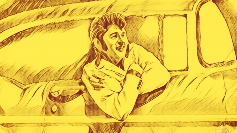 A drawing Of Elvis Presley In a Car Painted Yellow.     Print