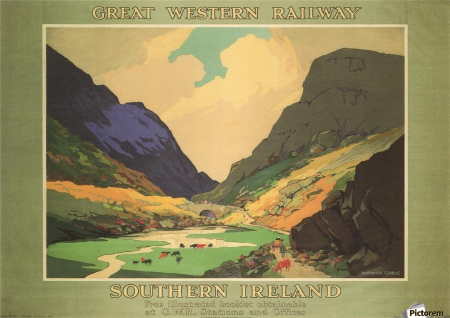 Southern Ireland Great Western Railway 1931 Vintage Travel Poster  Print