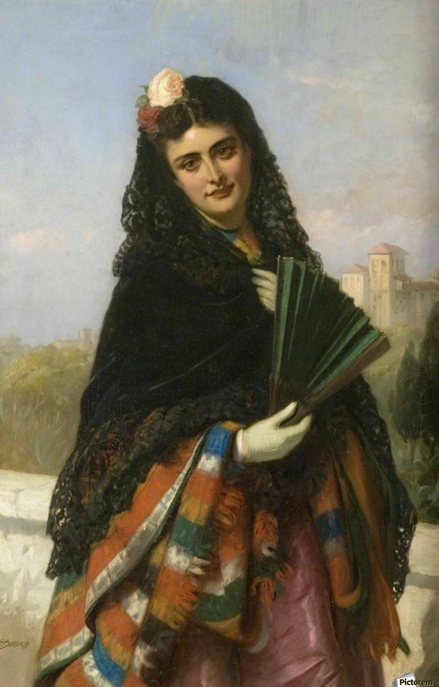 Spanish lady with a fan  Print