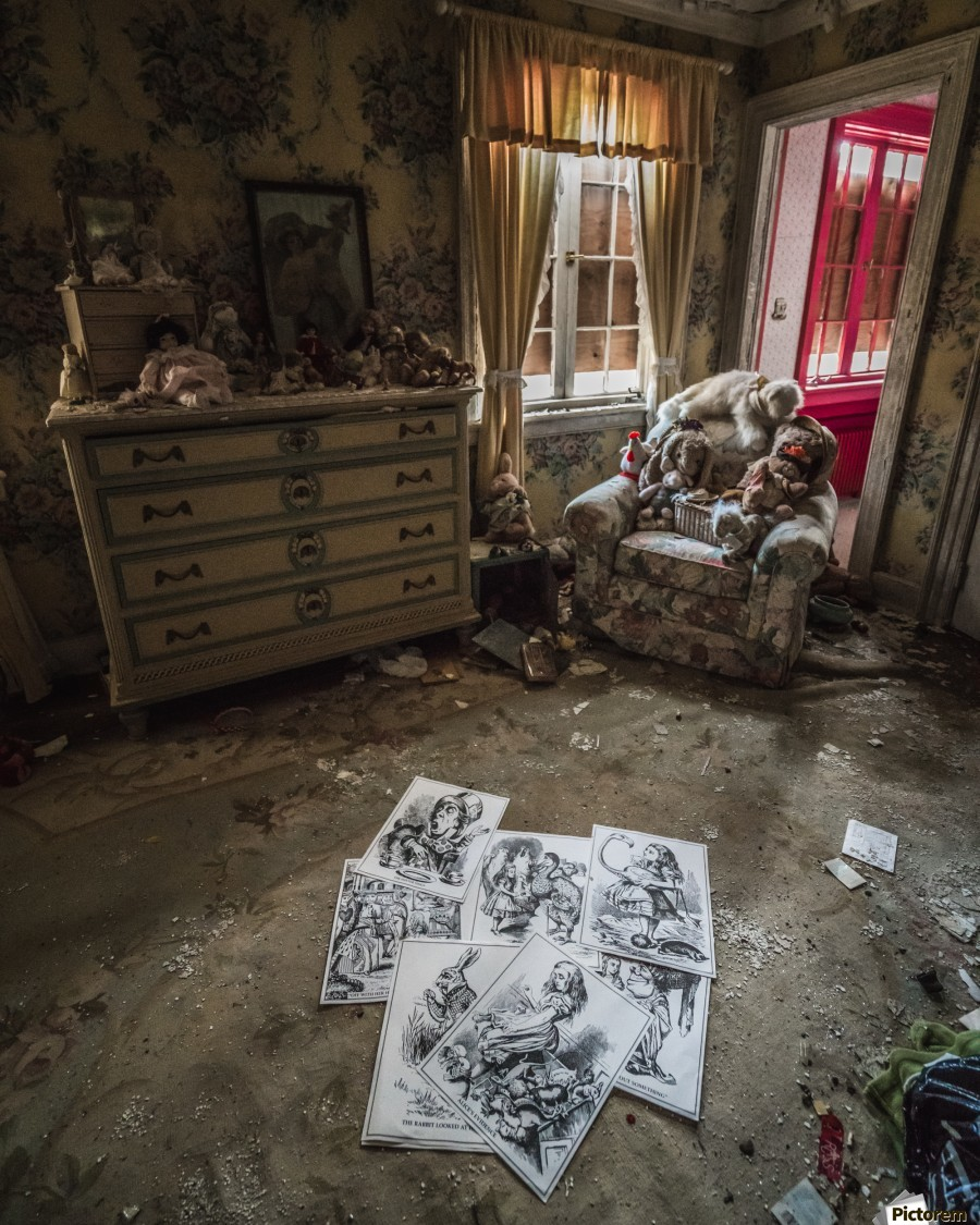 Abandoned Alice In Wonderland Room  Print