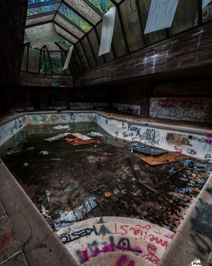 Abandoned Mansion Pool  Print