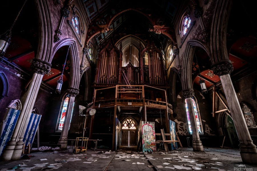 Abandoned Gothic Cathedral  Print