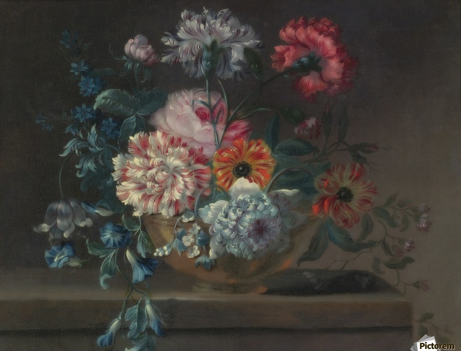 Still life of variegated carnations and other flowers on a ledge  Print