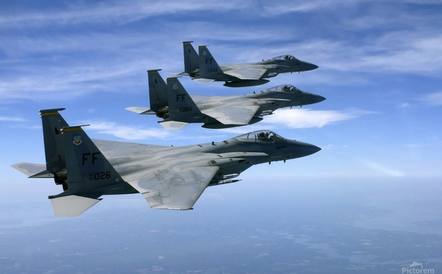 The F-15 Eagles final training mission over the the Atlantic Ocean.  Print