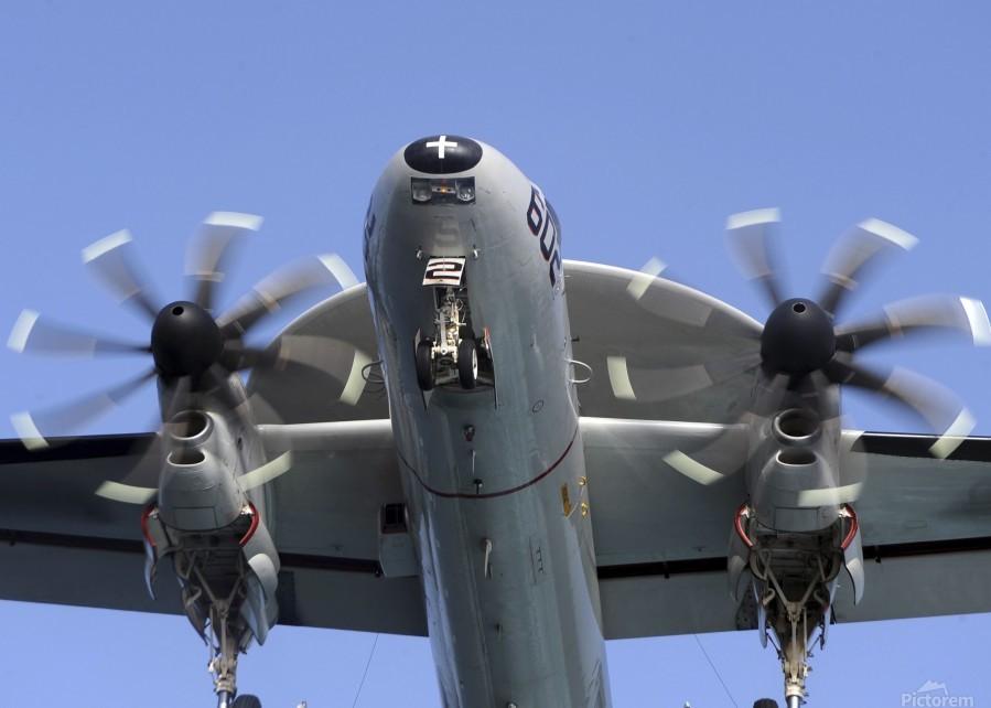 An E-2C Hawkeye prepares for landing.  Print