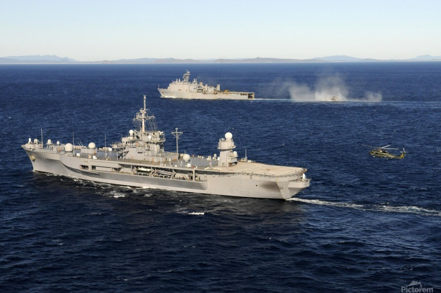 USS Blue Ridge conducts flight operations in the Coral Sea while underway with  USS Germantown.  Print