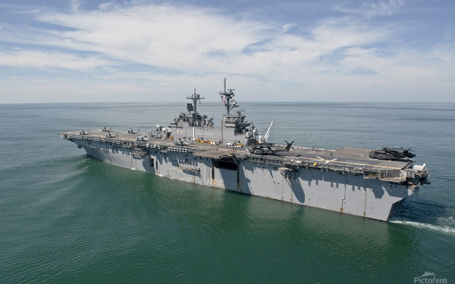 The amphibious assault ship USS Wasp transits the Atlantic Ocean.  Print
