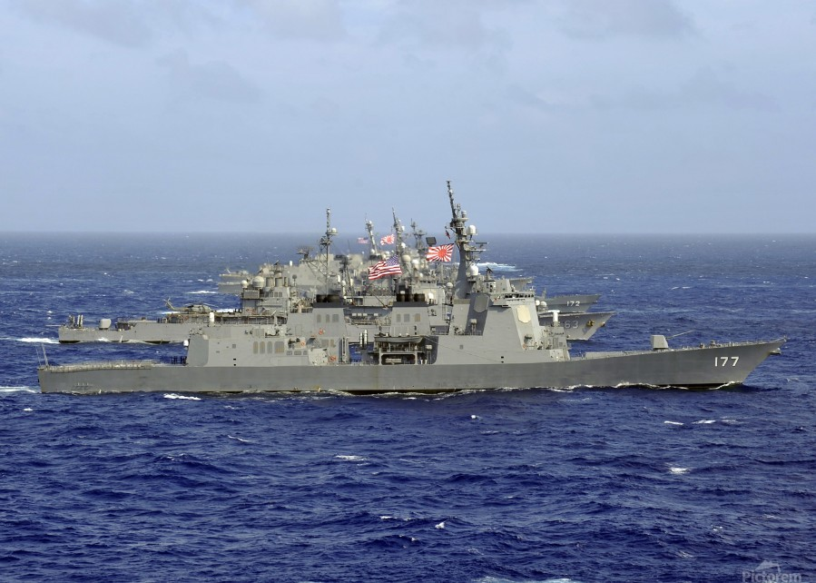 JDS Atago sails in formation with U.S. Navy and Japan Maritime Self Defense Force ships.  Print