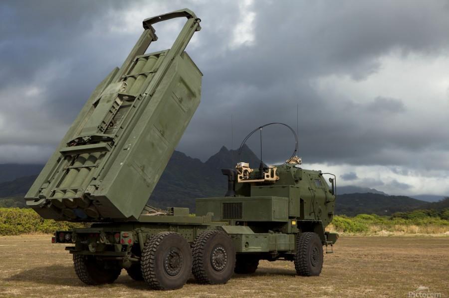 A M142 High Mobility Artillery Rocket System.  Print
