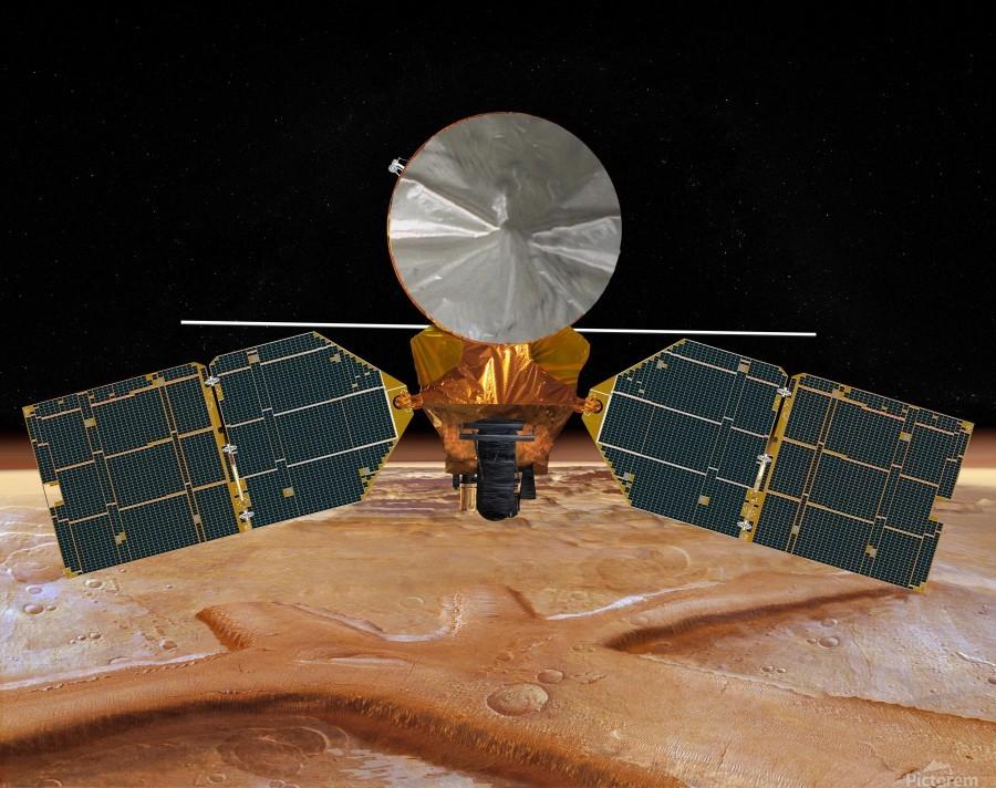Artists concept of the Mars Reconnaissance Orbiter.  Print