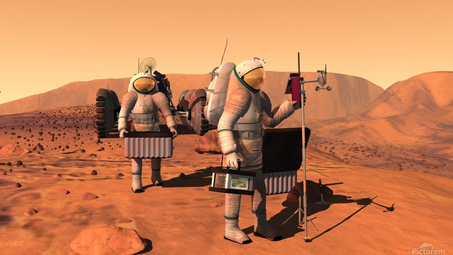 Artists concept of astronauts setting up weather monitoring equipment on Mars.  Print