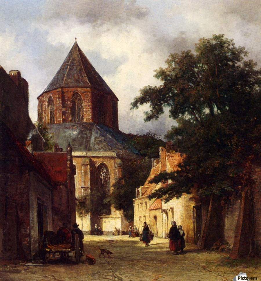 Street with Church  Print